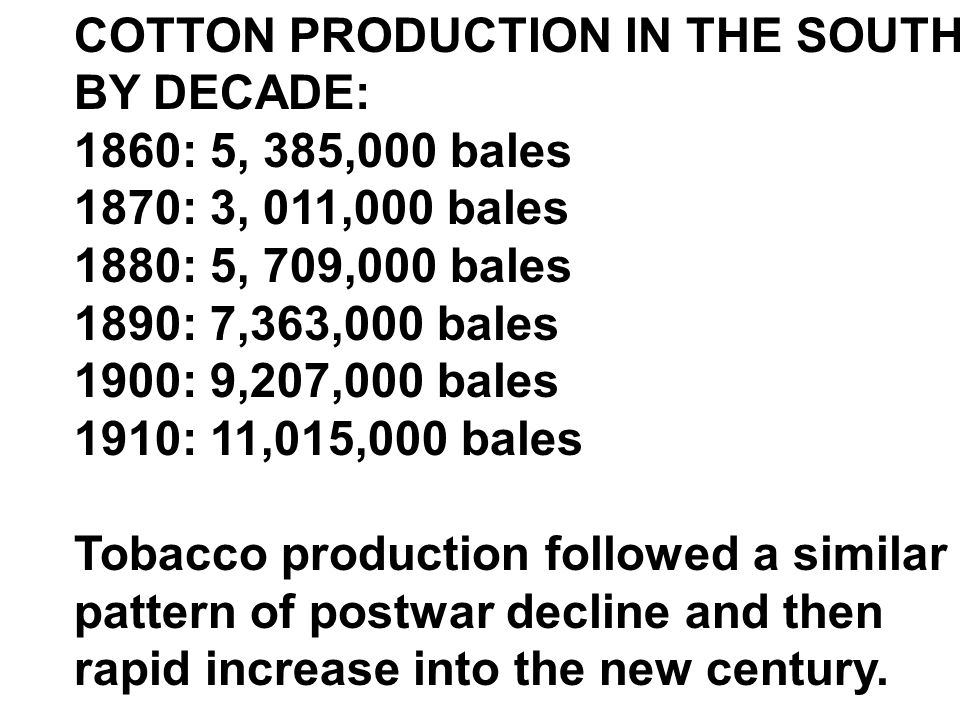 COTTON PRODUCTION IN THE SOUTH