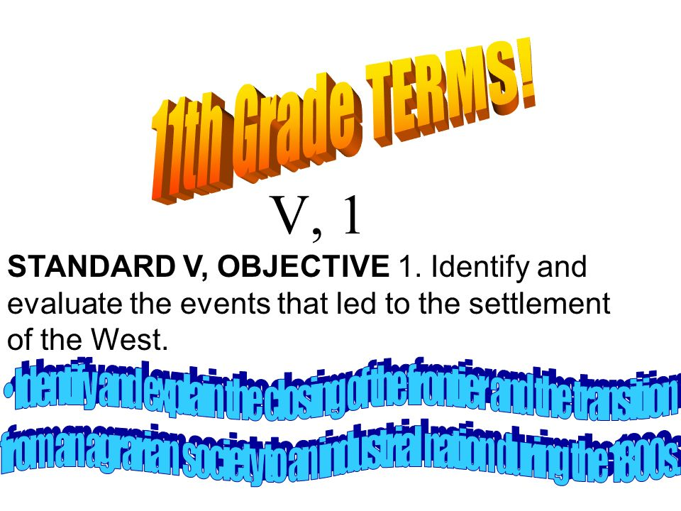 11th Grade TERMS! V, 1. STANDARD V, OBJECTIVE 1. Identify and evaluate the events that led to the settlement of the West.
