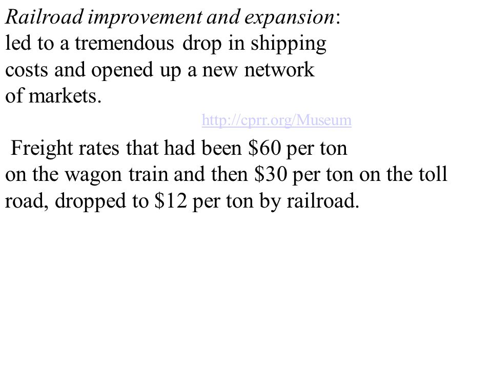 Railroad improvement and expansion: