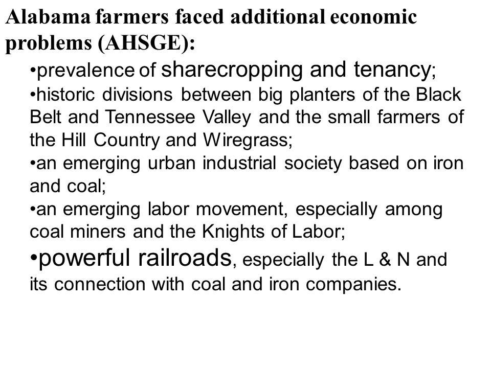Alabama farmers faced additional economic problems (AHSGE):