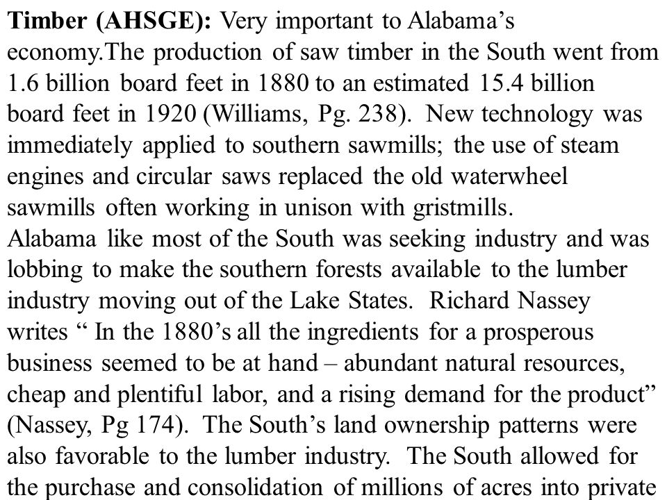 Timber (AHSGE): Very important to Alabama's economy