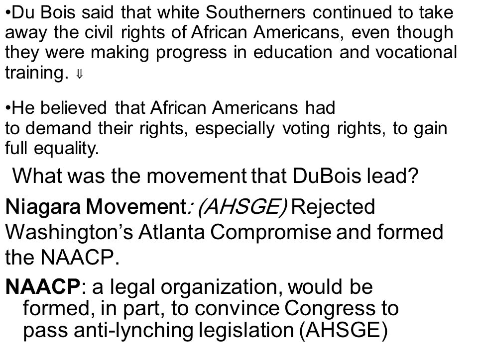 What was the movement that DuBois lead