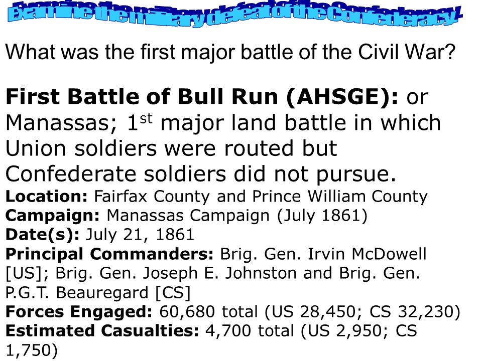 Examine the military defeat of the Confederacy.