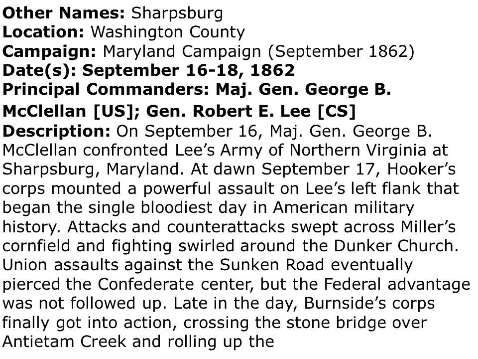 Other Names: Sharpsburg Location: Washington County