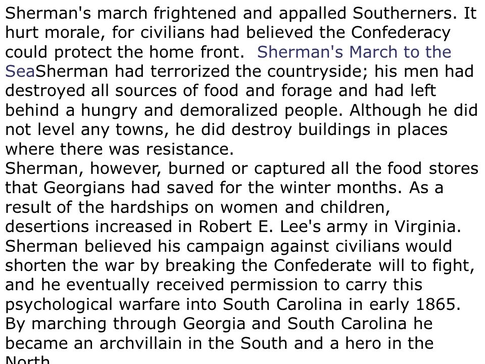 Sherman s march frightened and appalled Southerners