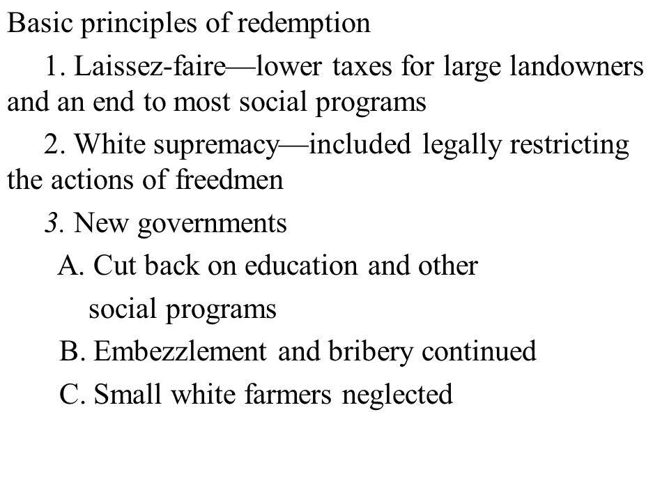 Basic principles of redemption