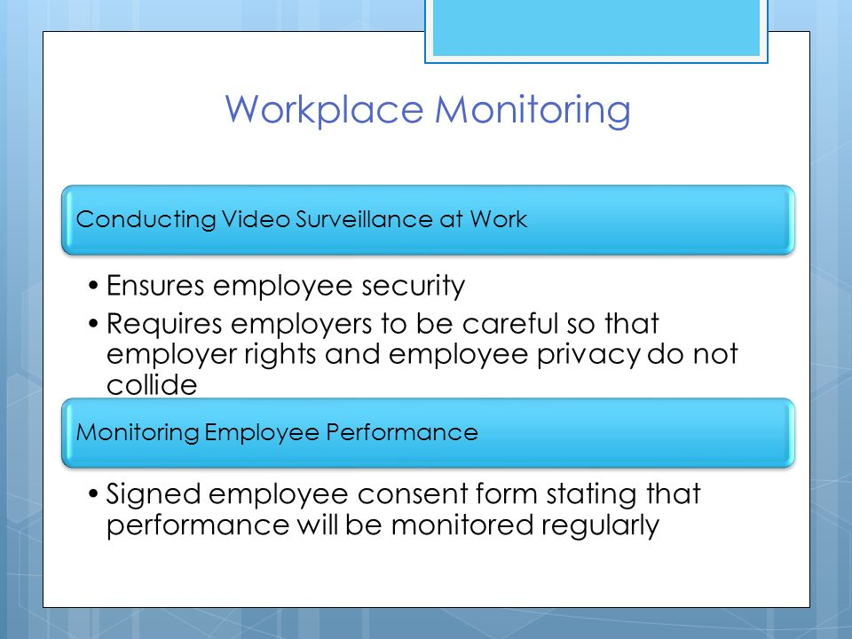 employee privacy rights workplace Read this business research paper and over 88,000 other research documents employee privacy rights in the workplace an employer believes that an employee is engaged in misuse of the company computer.