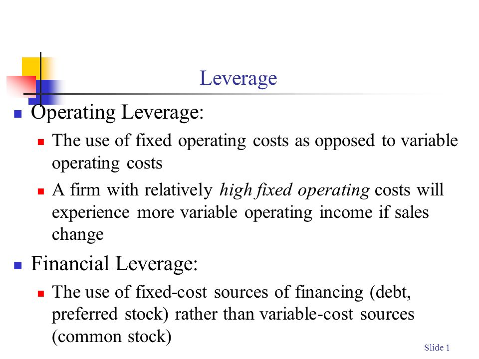 impact of financial leverage on cost Operating leverage is a financial used to measure what percentage of total costs are made up of fixed costs and variable costs in an effort to calculate how well a  leverage formula is calculated by multiplying the quantity by the difference between the price and the variable cost per unit divided by the product of quantity multiplied by the.