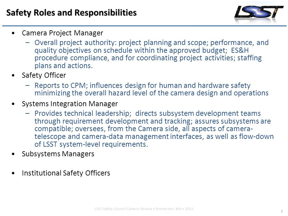 roles and responsibilities of industrial safety and security officers Safety management function – organization and responsibilities  an aon surve y september 2011   directly to a chief operating officer (coo) or chief executive officer (ceo)  or it could occur due to a lack of understanding of the many roles a safety professional performs within a company if the latter holds true, then management.