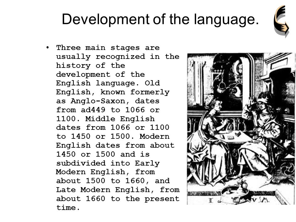 the three main stages in the history of the development of the english language A short history of the origins and development of english from the 5th century ad  the history of the english language really started with the arrival of three  native english speakers now would have great difficulty understanding old english.