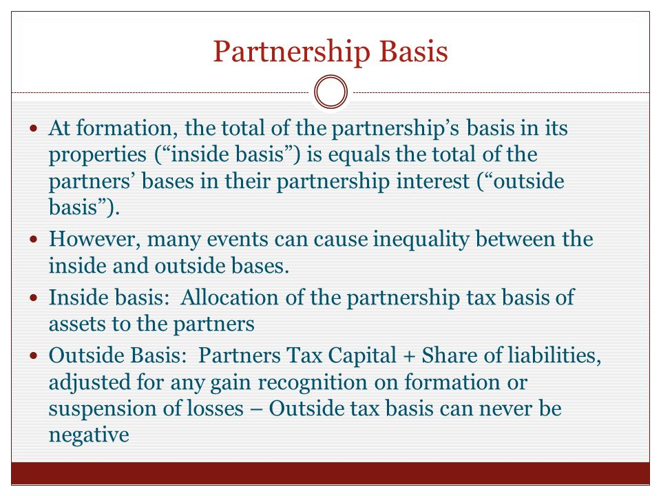partnerships formation operation and basis Publication 541 (01/2016), partnerships english publication 541 partner's interest more than partnership basis kumar became a limited partner in the abc partnership by contributing $10,000 in cash on the formation of the partnership.