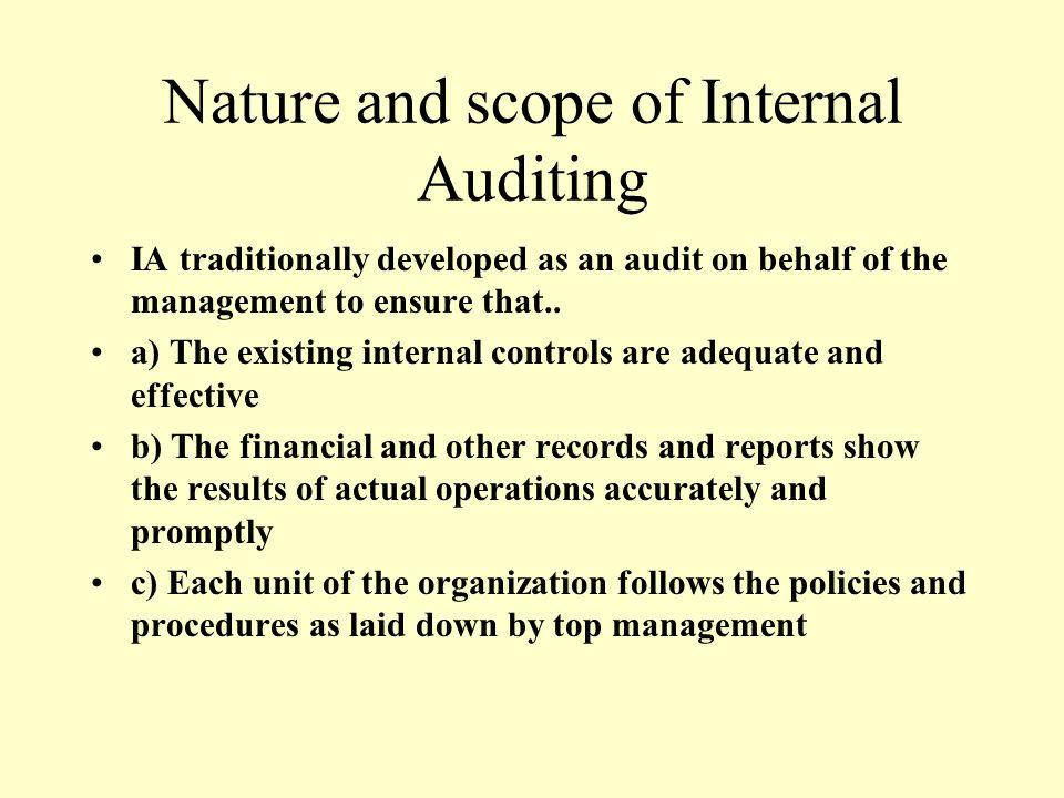 Internal audit vis vis internal control ppt video for Internal audit scope template