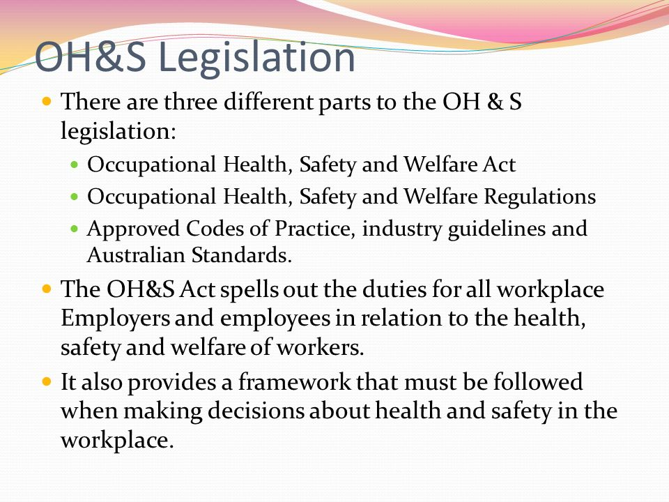 occupational health and safety oh s workplace Oh&s/wh&s certification training  representatives/workplace health and safety (whs)  the deadline to complete an occupational health and safety re .