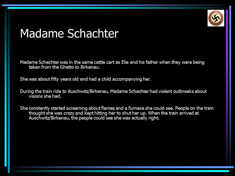 madame schachter in Night major characters  madame schachter: a woman of about fifty with a ten year old child on the train ride to auschwitz, she starts to lose her mind she .