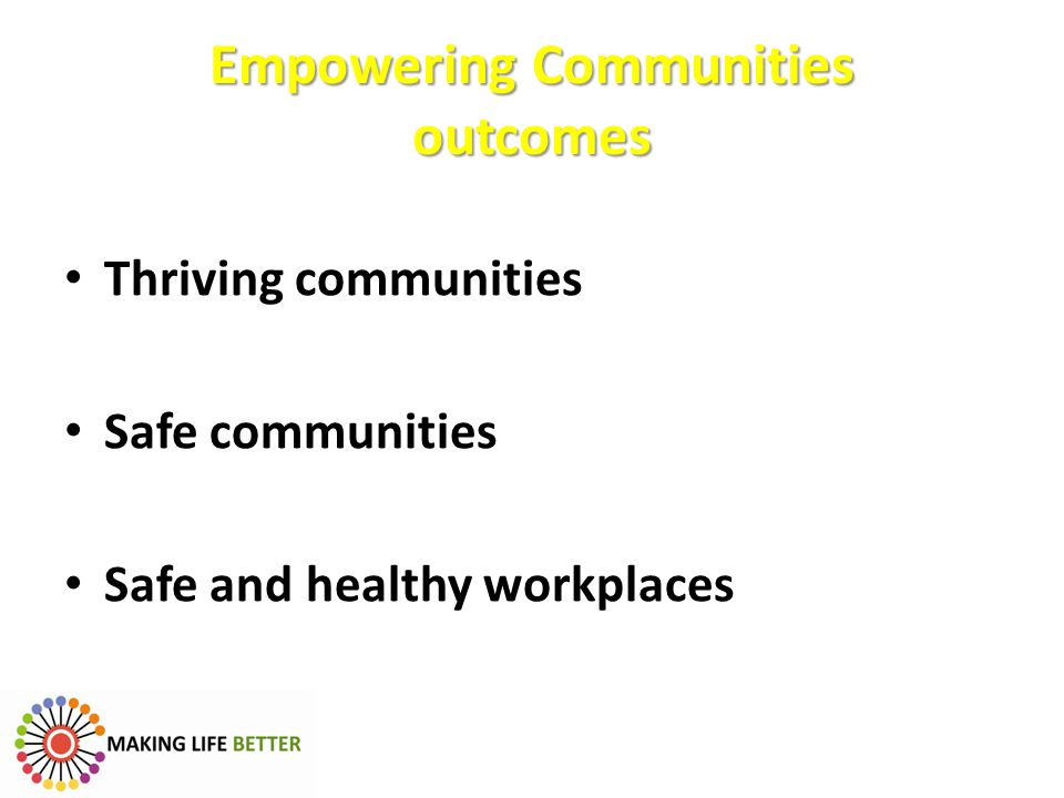 Empowering Communities outcomes