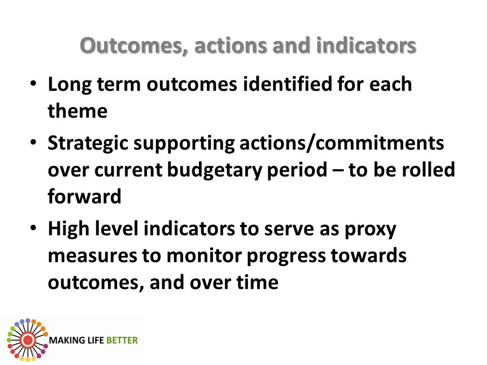 Outcomes, actions and indicators