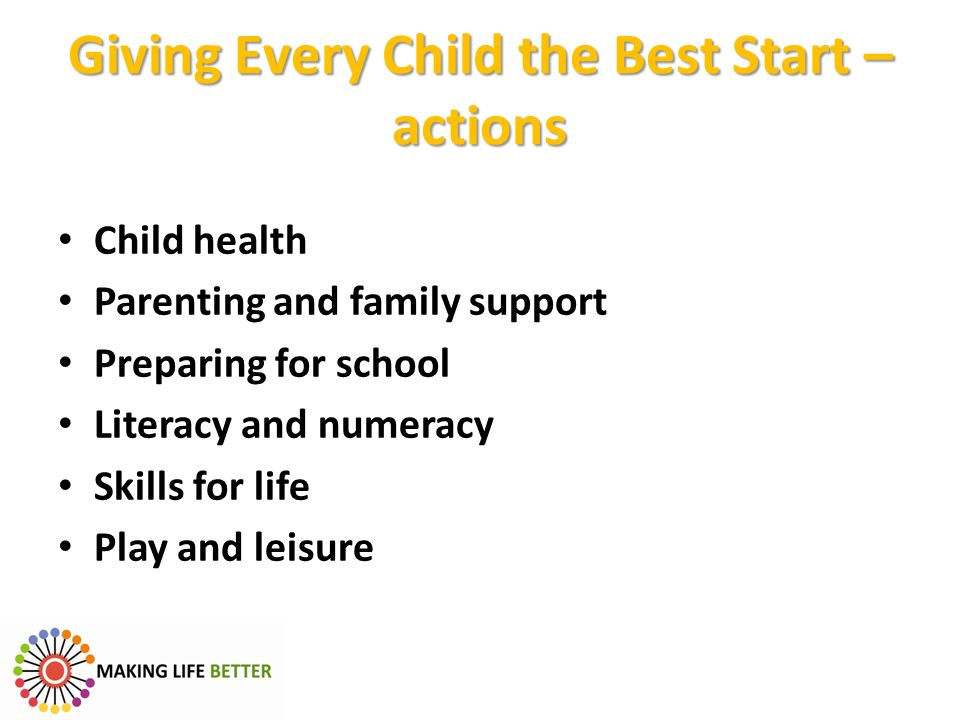 Giving Every Child the Best Start – actions