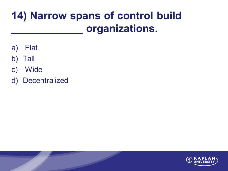 Narrow Spans Of Control Build