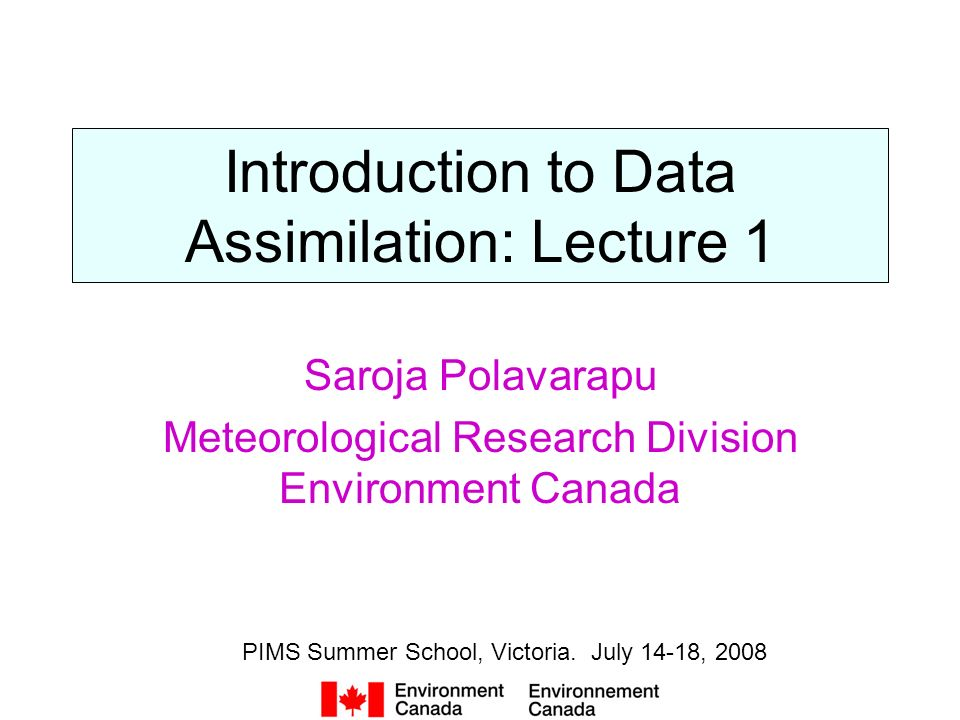 Introduction to Data Assimilation: Lecture 1