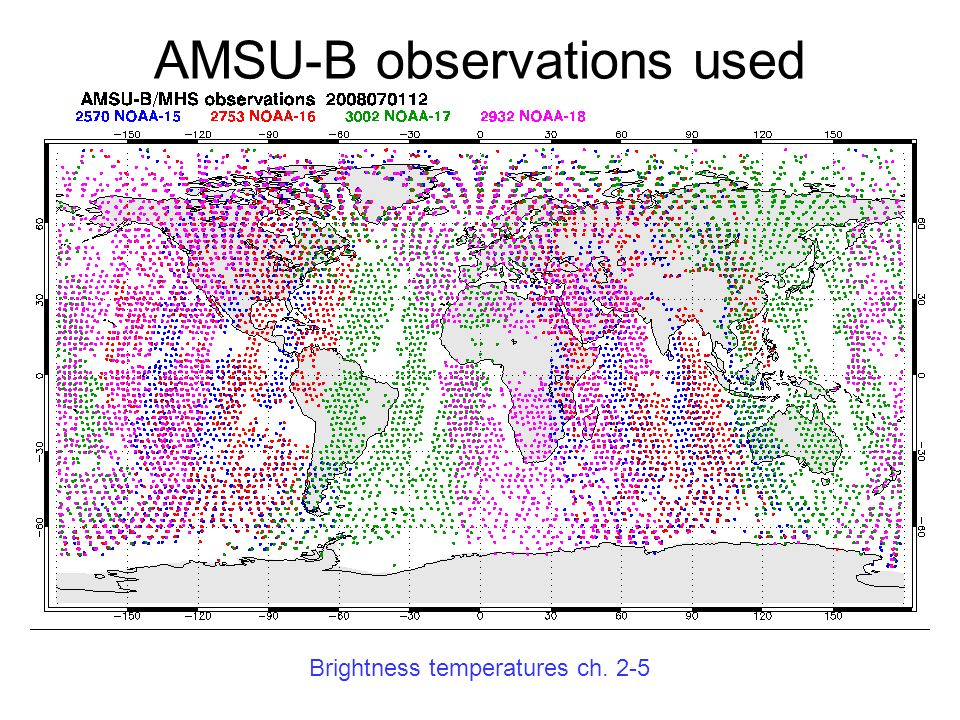 AMSU-B observations used
