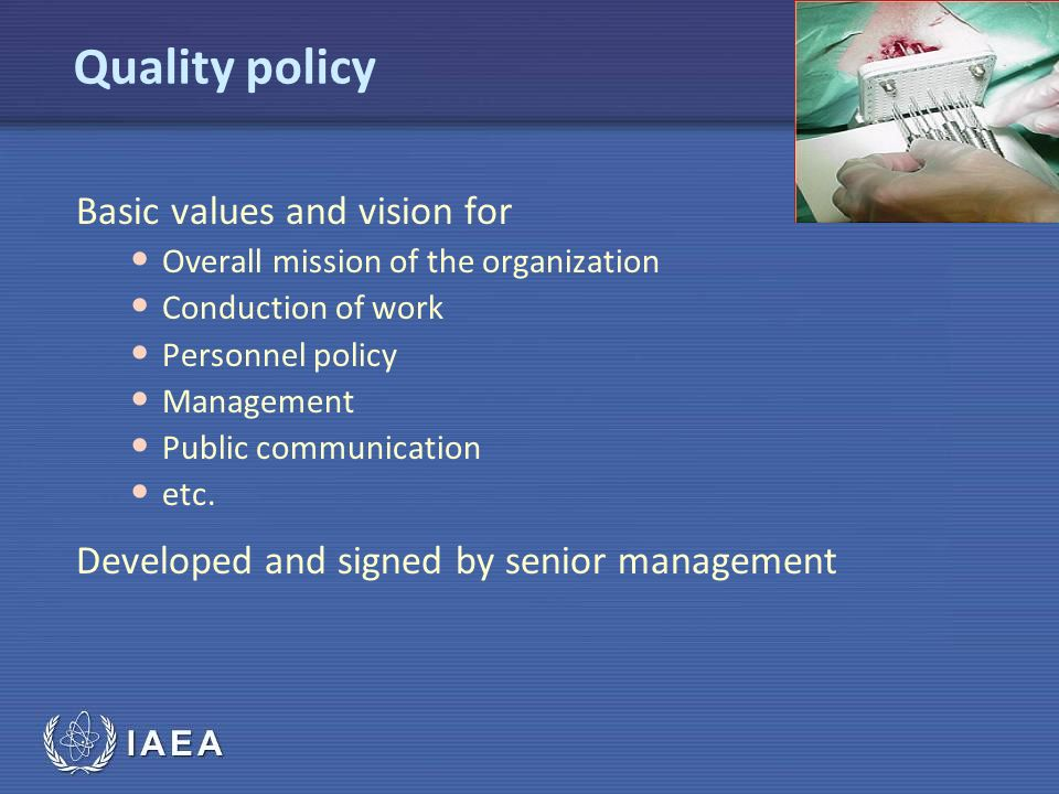 Quality policy Basic values and vision for