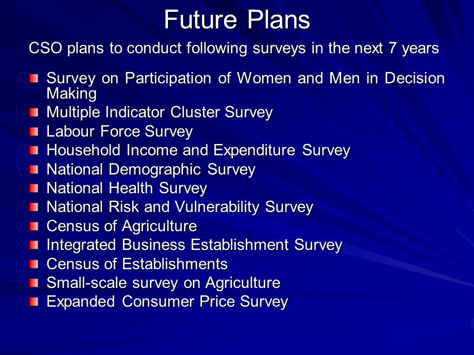 Central statistical organization cso afghanistan ppt for Future planner online