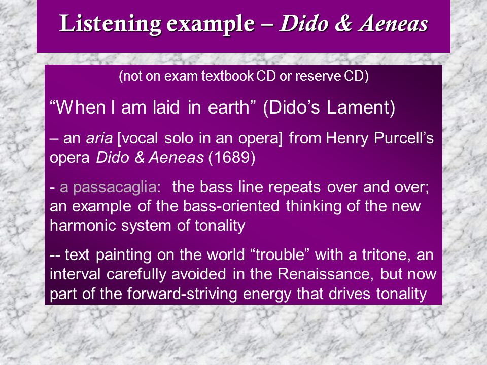Listening example – Dido & Aeneas