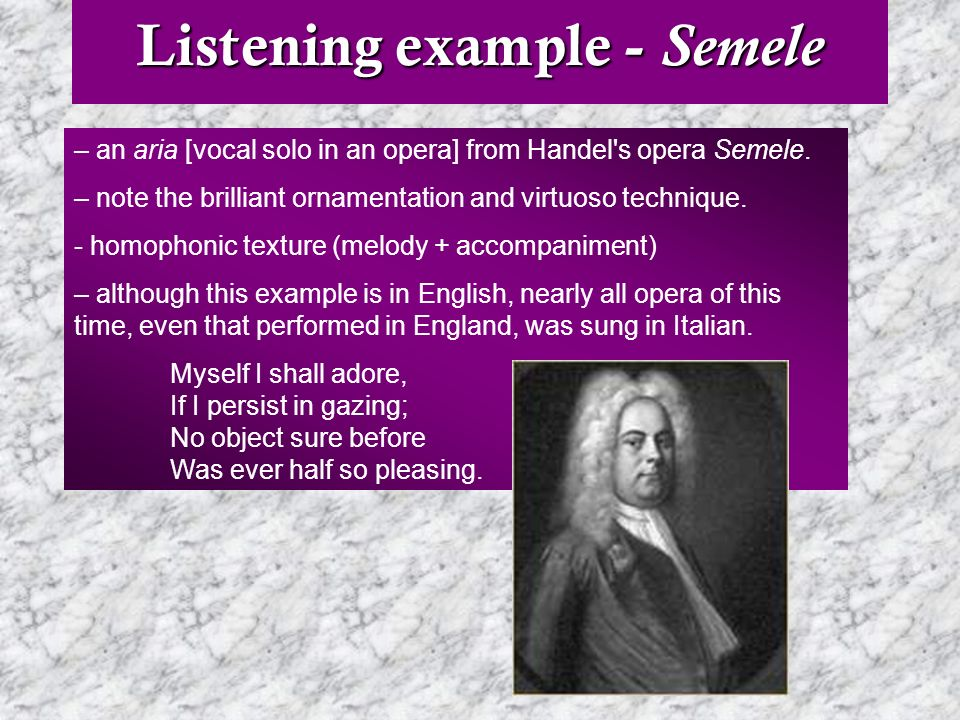 Listening example - Semele