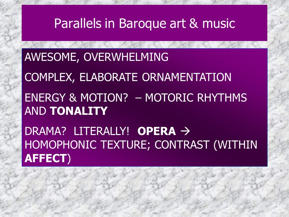 Parallels in Baroque art & music