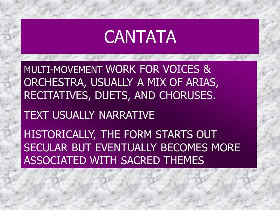 CANTATA TEXT USUALLY NARRATIVE
