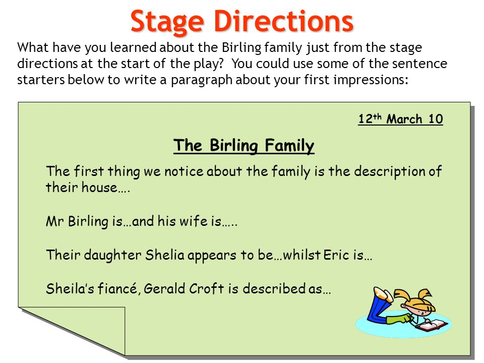how to write stage directions in an essay