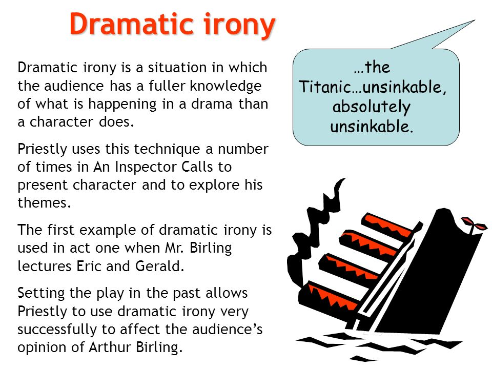 dramatic irony in an inspector calls essay As a result, the play ends with another phone call and the announcement of a  second visit  pg 7: dramatic irony 'the titanic- she sails next week'-'unsinkable, .