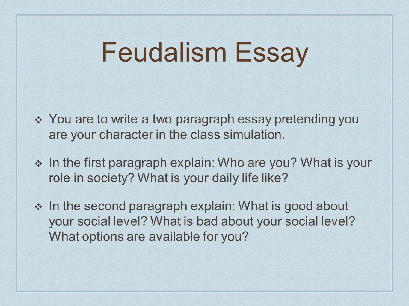 Thematic essay on feudalism