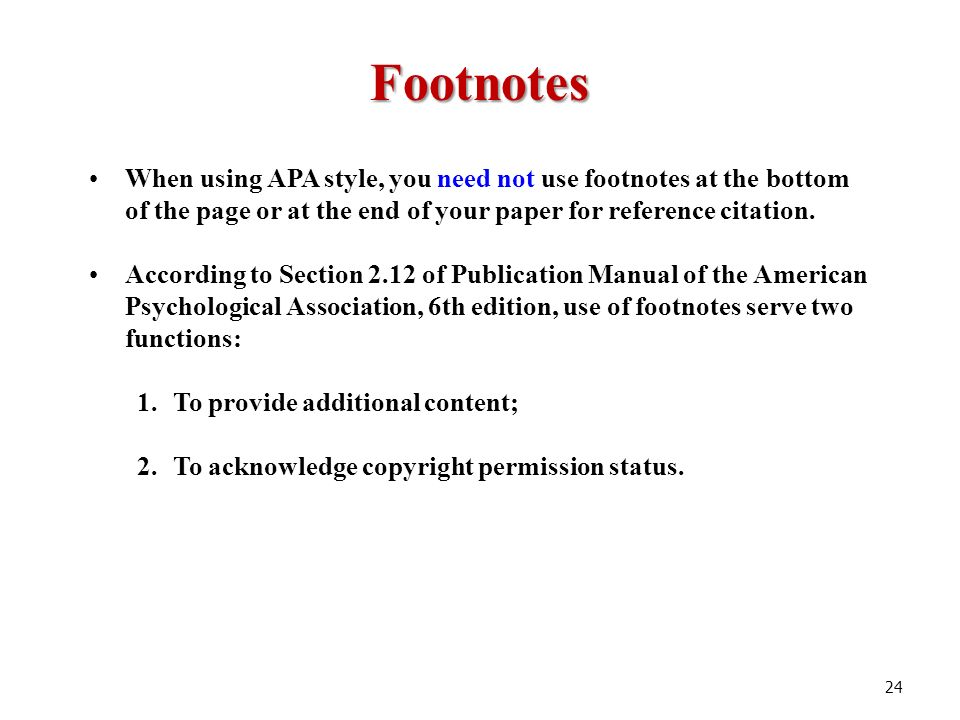 Apa and footnote and format