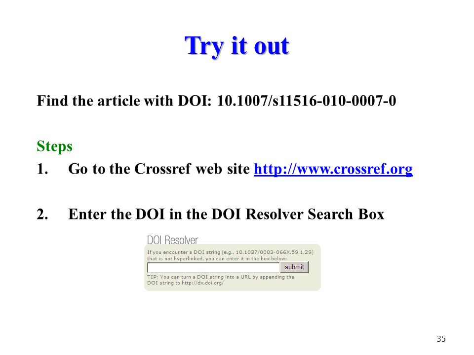 how to find the doi of a journal article