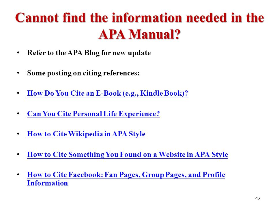 citing book apa style Apa style is an author-date citation style it was developed mainly for use in psychology, but has also been adopted by other disciplines there are two major.