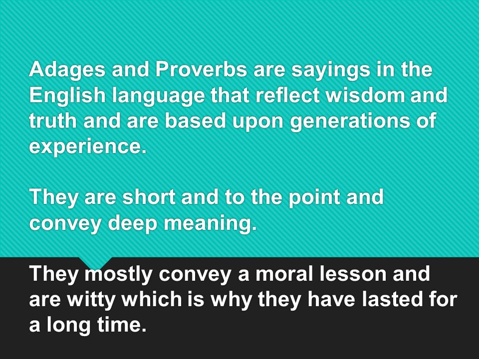 a view on the proverbs of