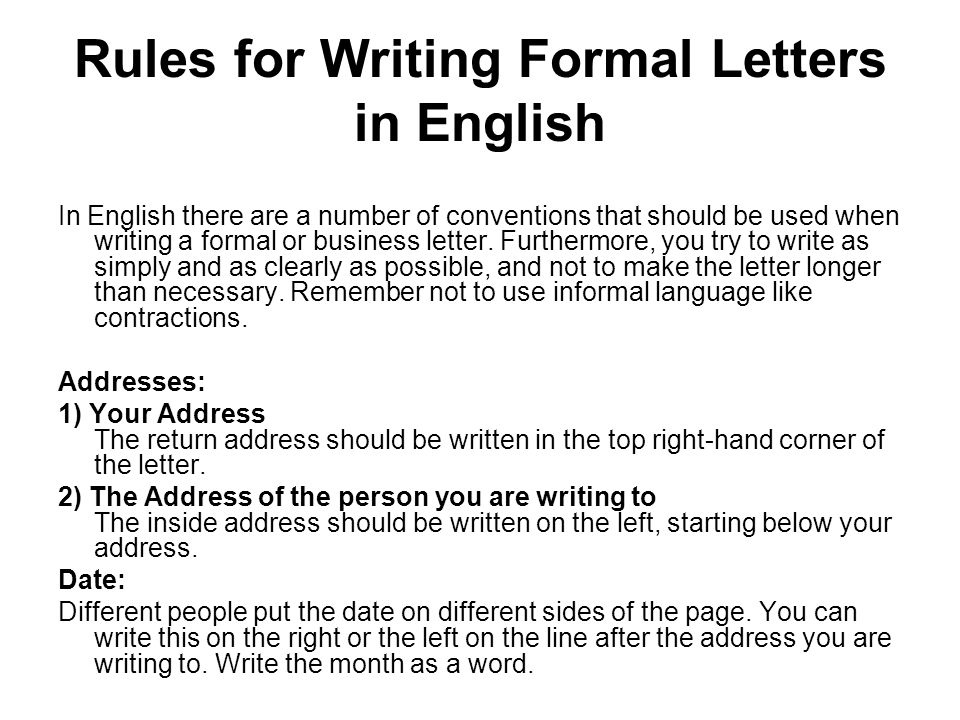 Rules For Writing Formal Letters In English