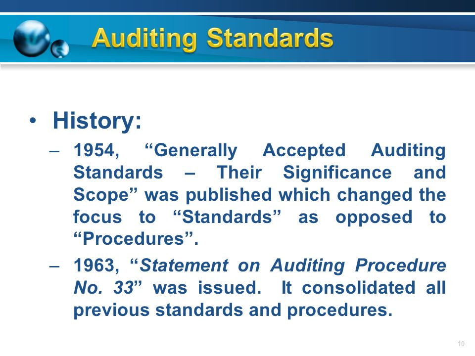 ten elements of generally accepted auditing What's the difference between a normal audit and a  accurate and in compliance with generally accepted  of the key elements as they relate.