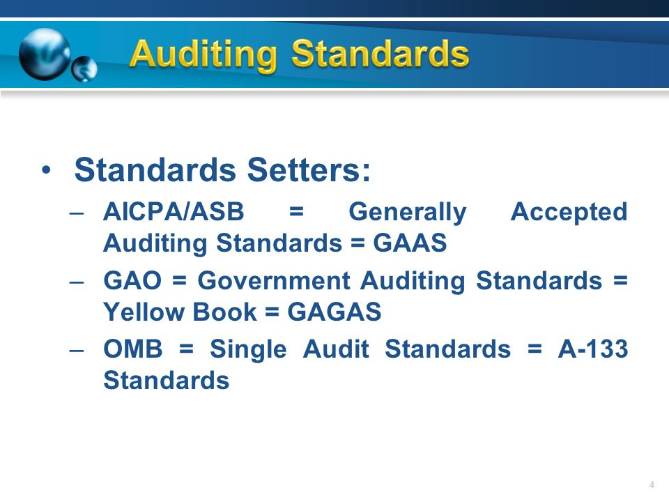 auditing standard Auditing standards require that all audits be conducted by persons having adequate technical training this includes formal education, field experience, and continuing professional training in addition, auditors must exhibit an independence in mental attitude.