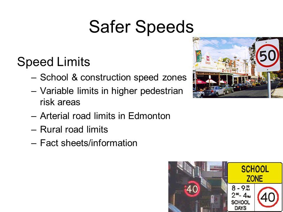 Safer Speeds Speed Limits School & construction speed zones