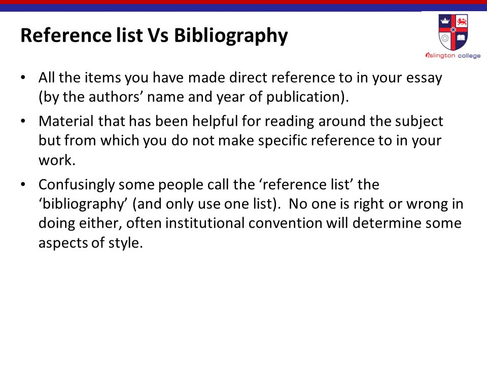 "harvard referencing"" ppt  reference list vs bibliography"
