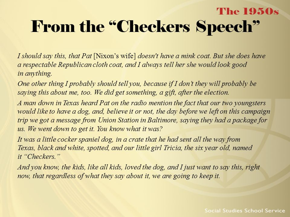 From the Checkers Speech