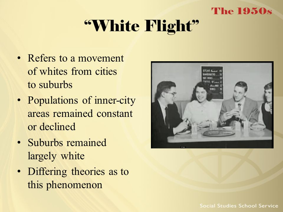 White Flight Refers to a movement of whites from cities to suburbs