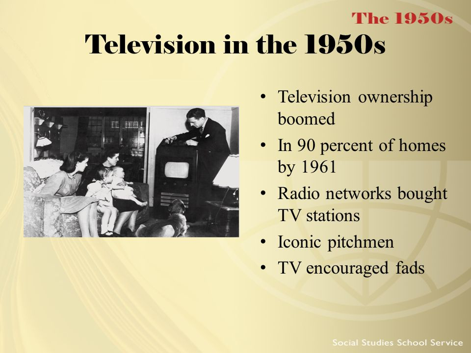 Television in the 1950s Television ownership boomed