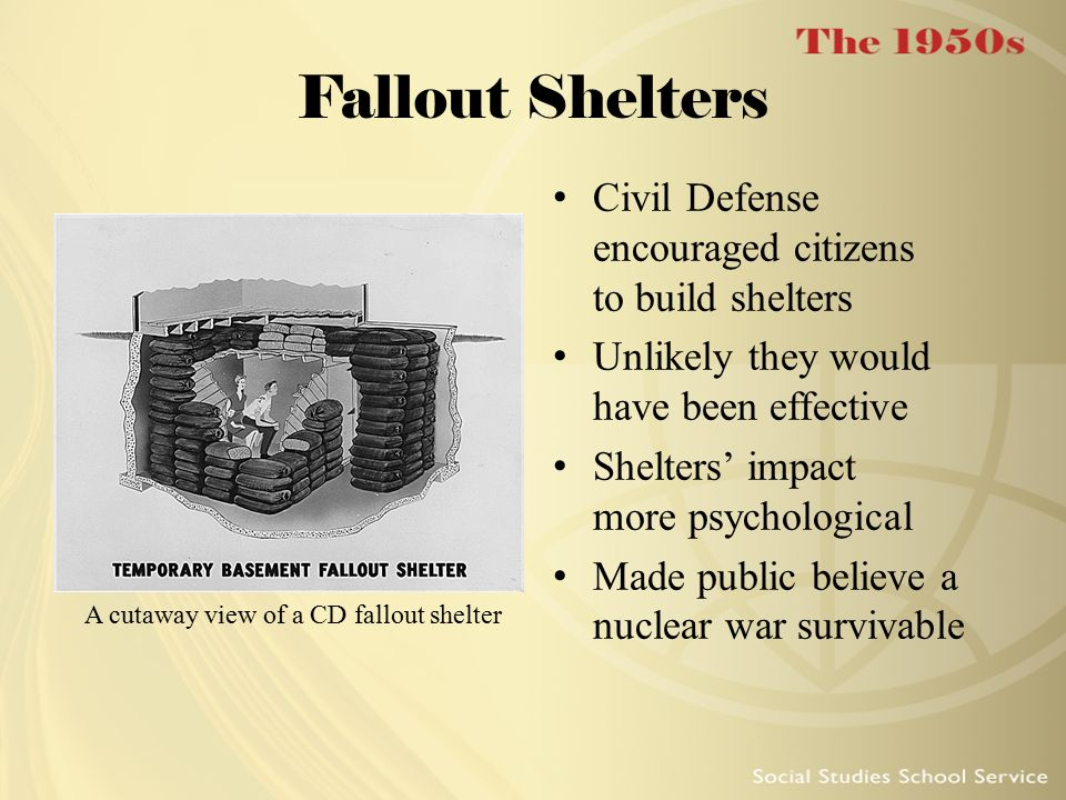 A cutaway view of a CD fallout shelter