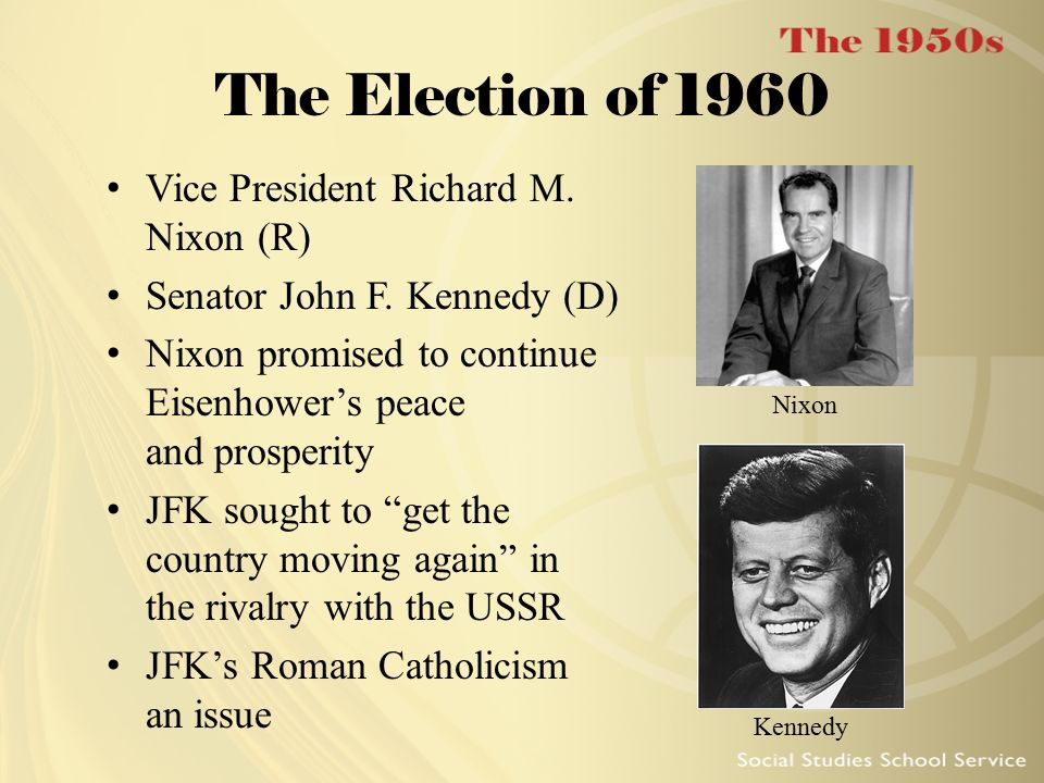 The Election of 1960 Vice President Richard M. Nixon (R)