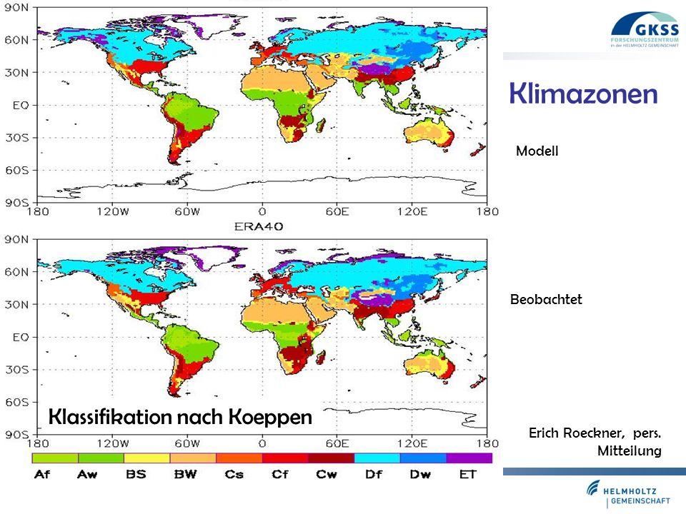 Klimazonen Klassifikation nach Koeppen Modell Beobachtet