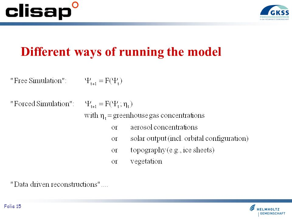 Different ways of running the model