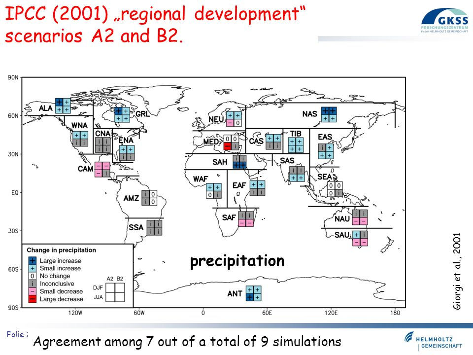 "IPCC (2001) ""regional development scenarios A2 and B2."